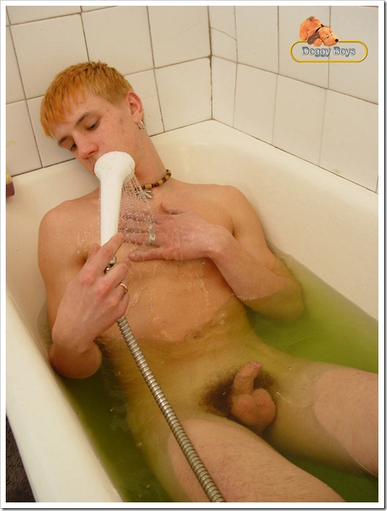 Redhead twink in shower 02